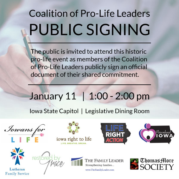 Coalition of Pro-Life Leaders   Public Signing